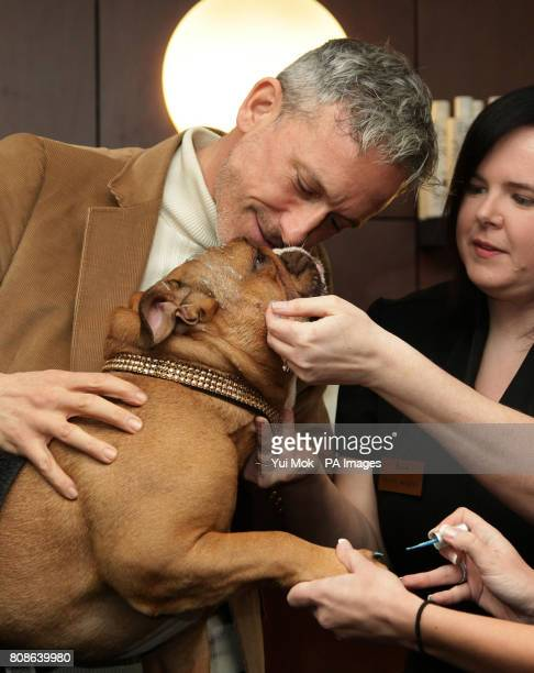 Shoe designer Patrick Cox with his dog Caesar having his nails polished and a facial during a photocall to launch The Pet Spa at Harrods in...
