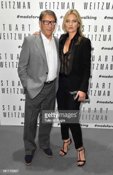Shoe designer Stuart Weitzman and model Kate Moss attend the Kate Moss Celebrates Stuart Weitzman Flagship Store Opening Designed By Zaha Hadid as a...