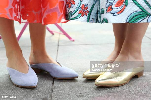 Shoe detail as models pose for the Lela Rose Presentation during New York Fashion Week at Washington Square Park on September 11 2017 in New York City