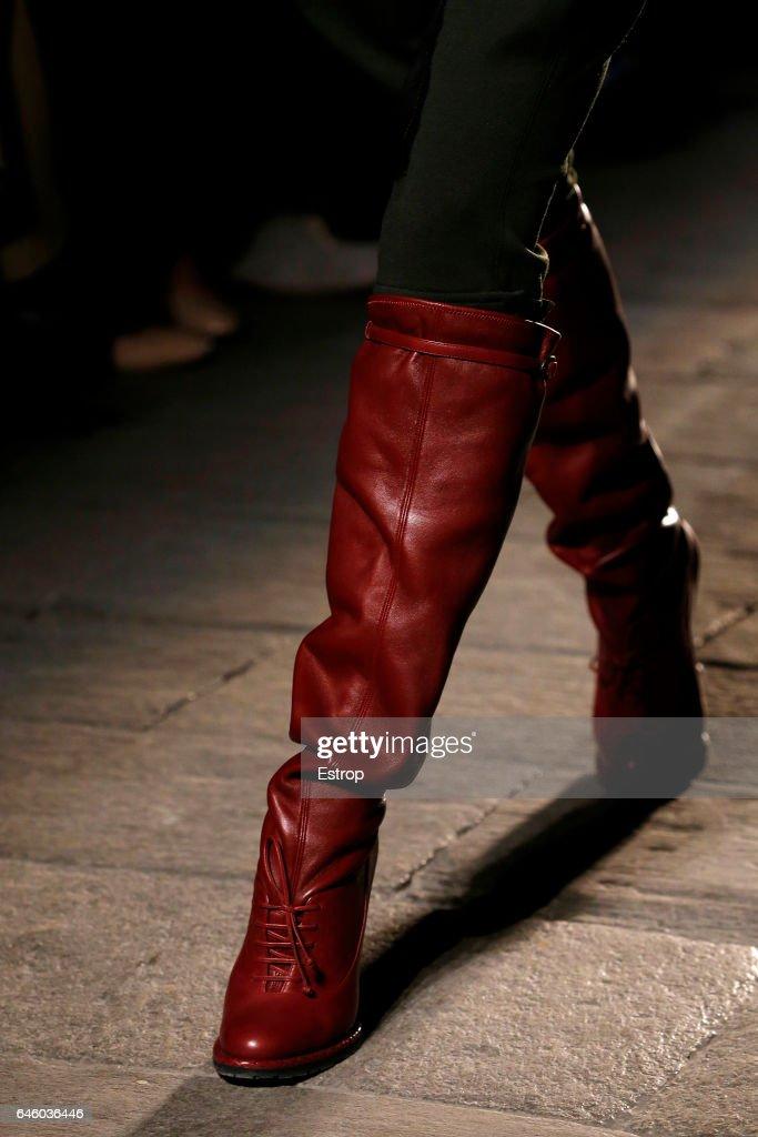 A Shoe detail at the Bottega Veneta show during Milan Fashion Week Fall/Winter 2017/18 on February 25, 2017 in Milan, Italy.