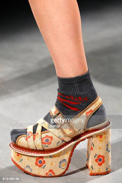 Shoe detail at the Vivienne Westwood show as part of the Paris Fashion Week Womenswear Spring/Summer 2017 on October 1 2016 in Paris France