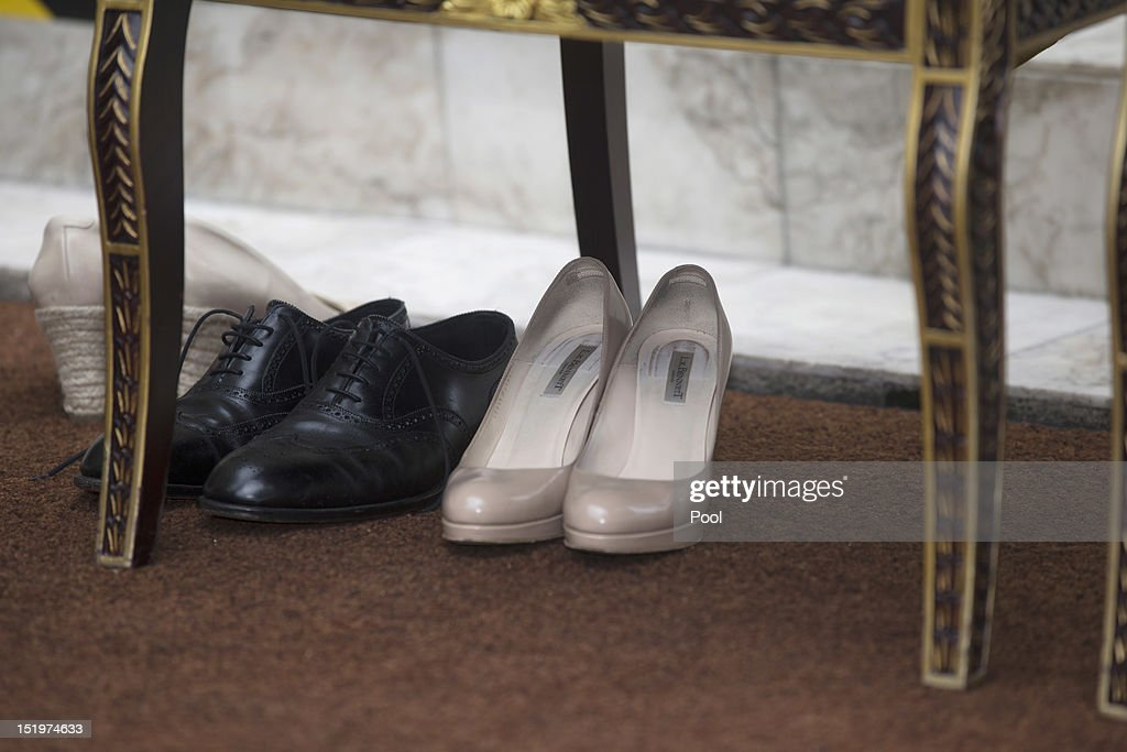 Shoe detail during the Catherine, Duchess of Cambridge and Prince William, Duke of Cambridge visit to Assyakirin Mosque on day 4 of Prince William, Duke of Cambridge and Catherine, Duchess of Cambridge's Diamond Jubilee Tour of the Far East on September 14, 2012 in Kuala Lumpur, Malaysia.