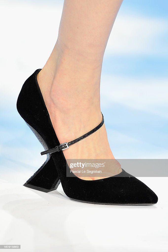 A shoe detail is seen as a model walks catwalk during Christian Dior Fall/Winter 2013 Ready-to-Wear show as part of Paris Fashion Week on March 1, 2013 in Paris, France.