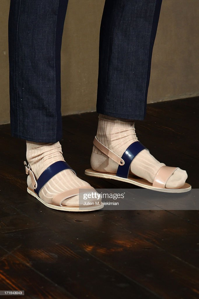 A shoe detail is seen as a model walks the runway during the Carven Menswear Spring/Summer 2014 show as part of the Paris Fashion Week on June 26, 2013 in Paris, France.