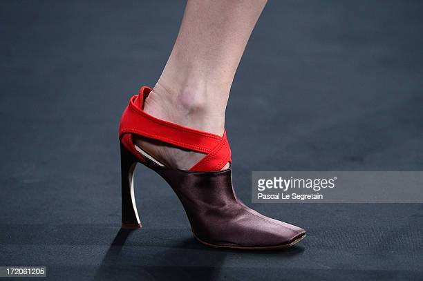 A shoe detail is seen as a model walks the runway during the Christian Dior show as part of Paris Fashion Week HauteCouture Fall/Winter 20132014 at...