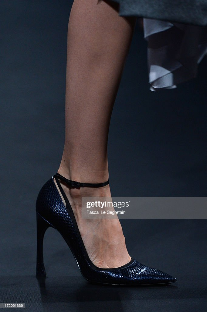 A shoe detail is seen as a model walks the runway during the Christian Dior show as part of Paris Fashion Week Haute-Couture Fall/Winter 2013-2014 at Hotel Des Invalides on July 1, 2013 in Paris, France.