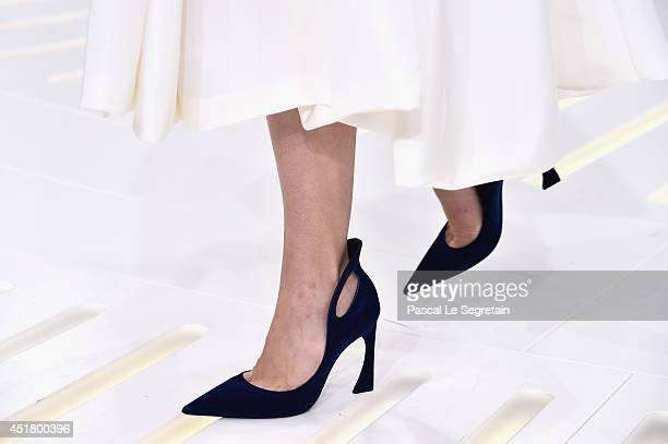 A shoe detail is seen as a model walks the runway during the Christian Dior show as part of Paris Fashion Week Haute Couture Fall/Winter 20142015 on...