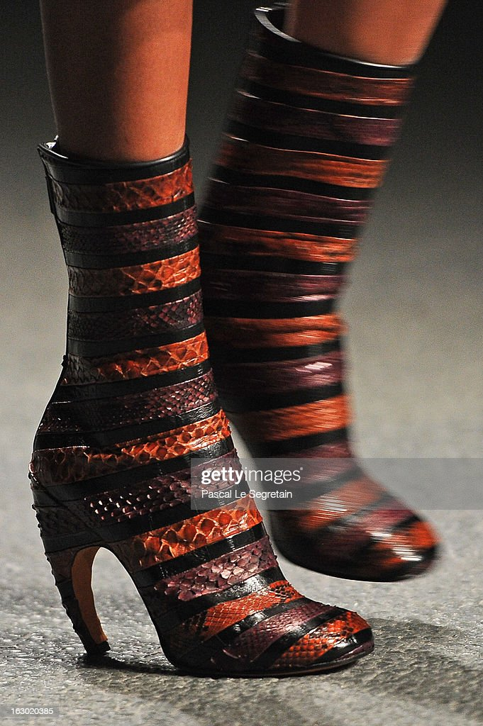 A shoe detail is seen as a model walks the runway during the Givenchy Fall/Winter 2013 Ready-to-Wear show as part of Paris Fashion Week on March 3, 2013 in Paris, France.