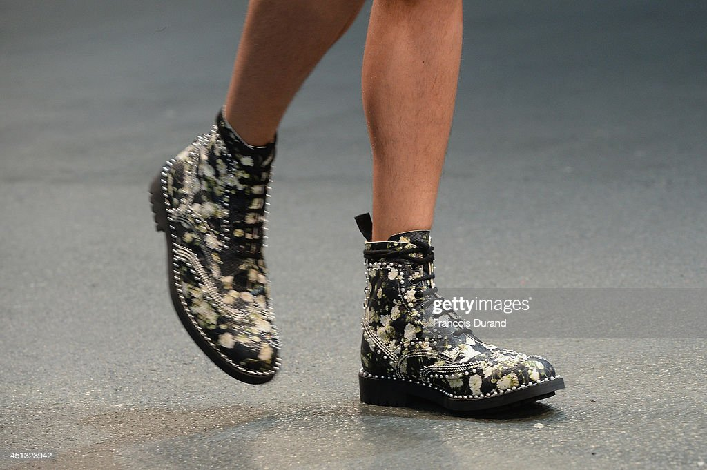 A shoe detail is seen as a model walks the runway during the Givenchy show as part of the Paris Fashion Week Menswear Spring/Summer 2015 on June 27, 2014 in Paris, France.