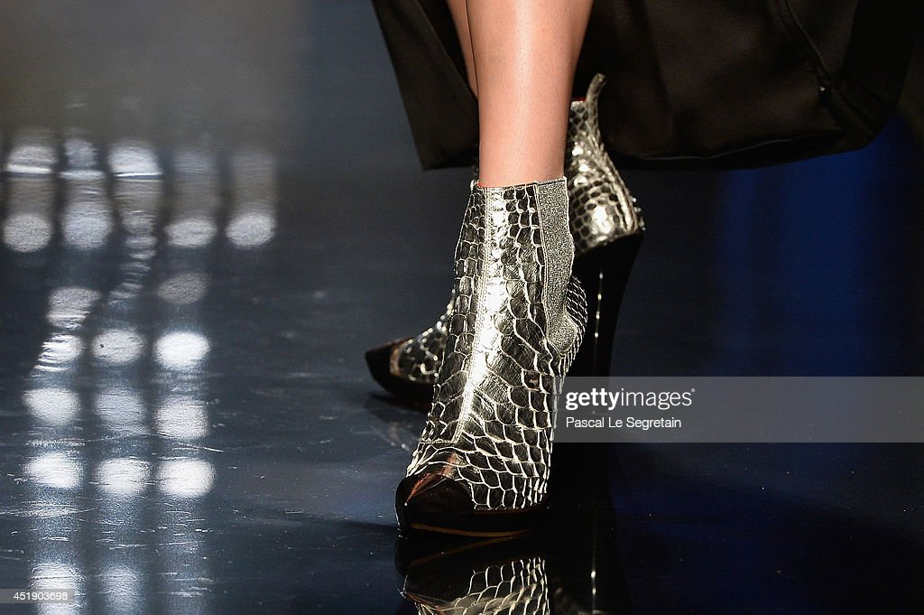 A shoe detail is seen as a model walks the runway during the Jean Paul Gaultier show as part of Paris Fashion Week Haute Couture Fall/Winter 20142015...