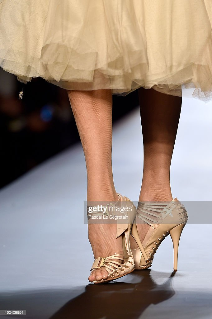 A shoe detail is seen as a model walks the runway during the Jean Paul Gaultier show as part of Paris Fashion Week Haute Couture Spring/Summer 2015...