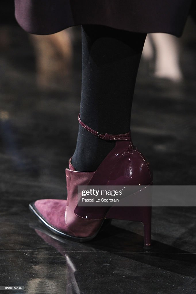 A shoe detail is seen as a model walks the runway during the John Galliano Fall/Winter 2013 Ready-to-Wear show as part of Paris Fashion Week at Le Centorial on March 3, 2013 in Paris, France.