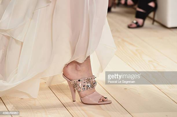 A shoe detail is seen as a model walks the runway during the Nina Ricci show as part of the Paris Fashion Week Womenswear Spring/Summer 2015 on...