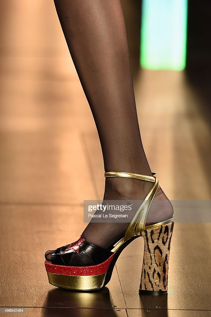 A shoe detail is seen as a model walks the runway during the Saint Laurent show as part of the Paris Fashion Week Womenswear Spring/Summer 2015 on...