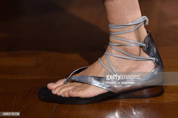 A shoe detail is seen as a model walks the runway during the Stella McCartney show as part of the Paris Fashion Week Womenswear Spring/Summer 2015 on...