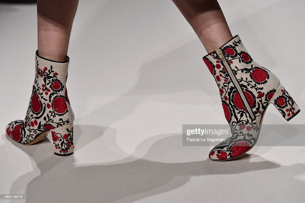 A shoe detail is seen as a model walks the runway during the Valentino show as part of Paris Fashion Week Haute Couture Spring/Summer 2015 on January...
