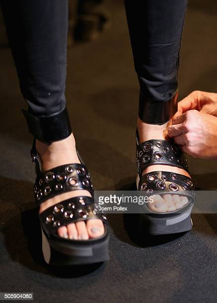 A shoe detail is seen backstage ahead of the Laurel show during the MercedesBenz Fashion Week Berlin Autumn/Winter 2016 at Brandenburg Gate on...