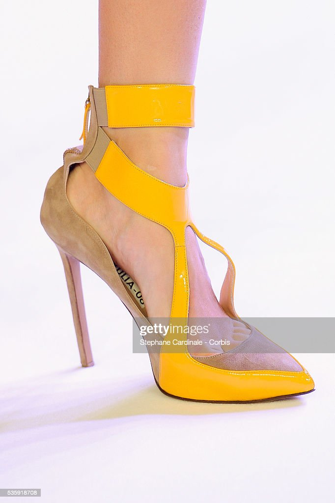 A shoe detail of a model is seen as she walks the runway during the Stephane Rolland show as part of Paris Fashion Week Haute-Couture Spring/Summer 2014, at Grand Palais in Paris.