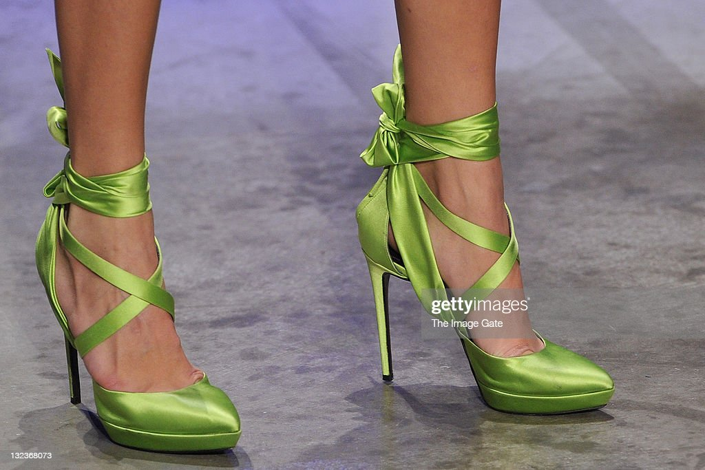 A shoe detail of a model wearing a Talbot Runhof design is seen as she walks the runway during the third day of the Charles Voegele Fashion Days on November 11, 2011 in Zurich, Switzerland.
