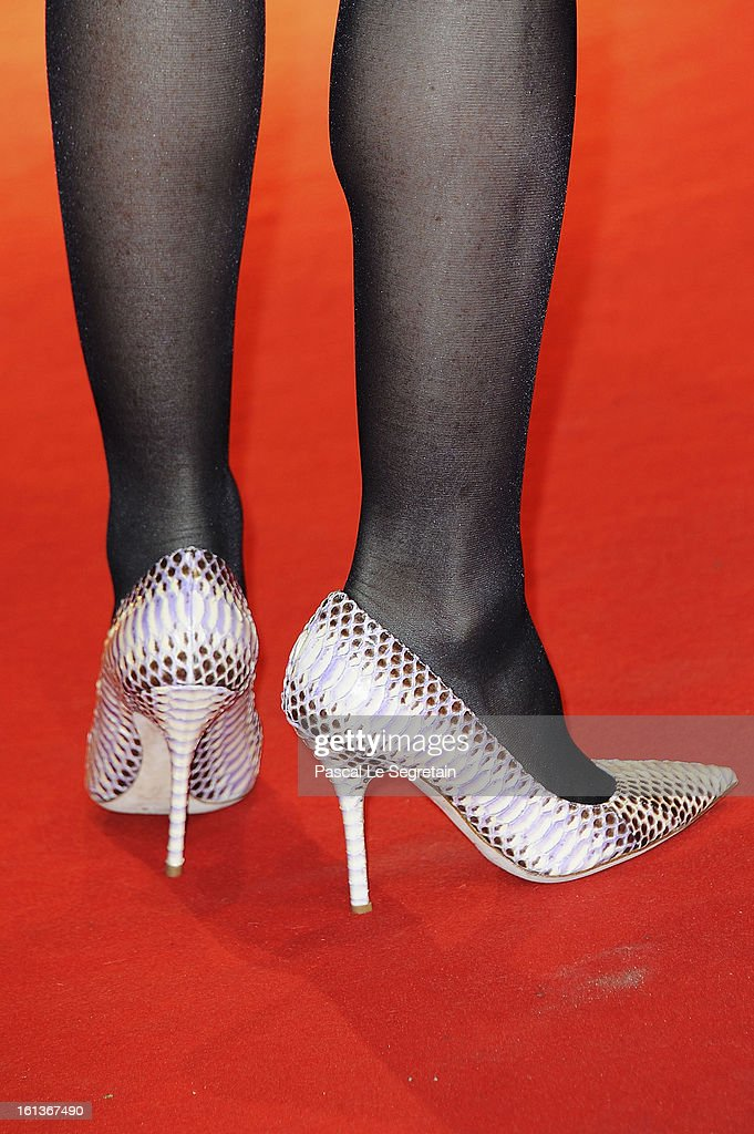 Shoe detail of actress Isabelle Huppert as she attends the 'The Nun' Premiere during the 63rd Berlinale International Film Festival at Berlinale Palast on February 10, 2013 in Berlin, Germany.
