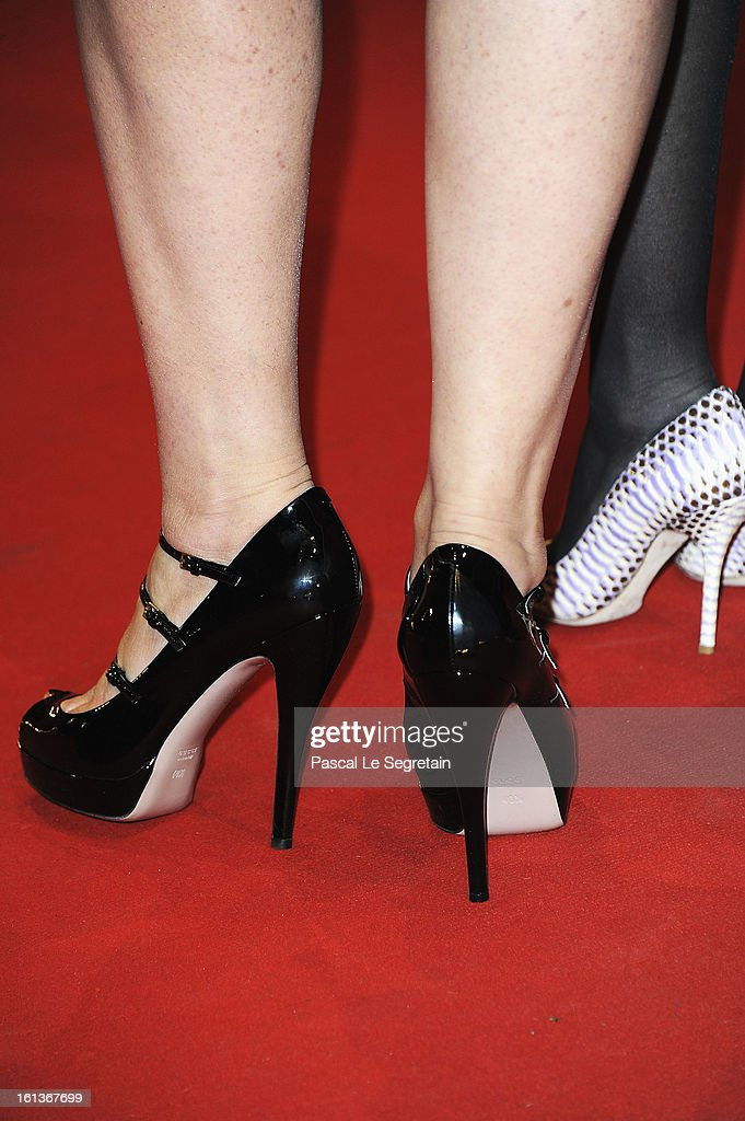 Shoe detail of actress <a gi-track='captionPersonalityLinkClicked' href=/galleries/search?phrase=Martina+Gedeck&family=editorial&specificpeople=621042 ng-click='$event.stopPropagation()'>Martina Gedeck</a> attends 'The Nun' Premiere during the 63rd Berlinale International Film Festival at Berlinale Palast on February 10, 2013 in Berlin, Germany.