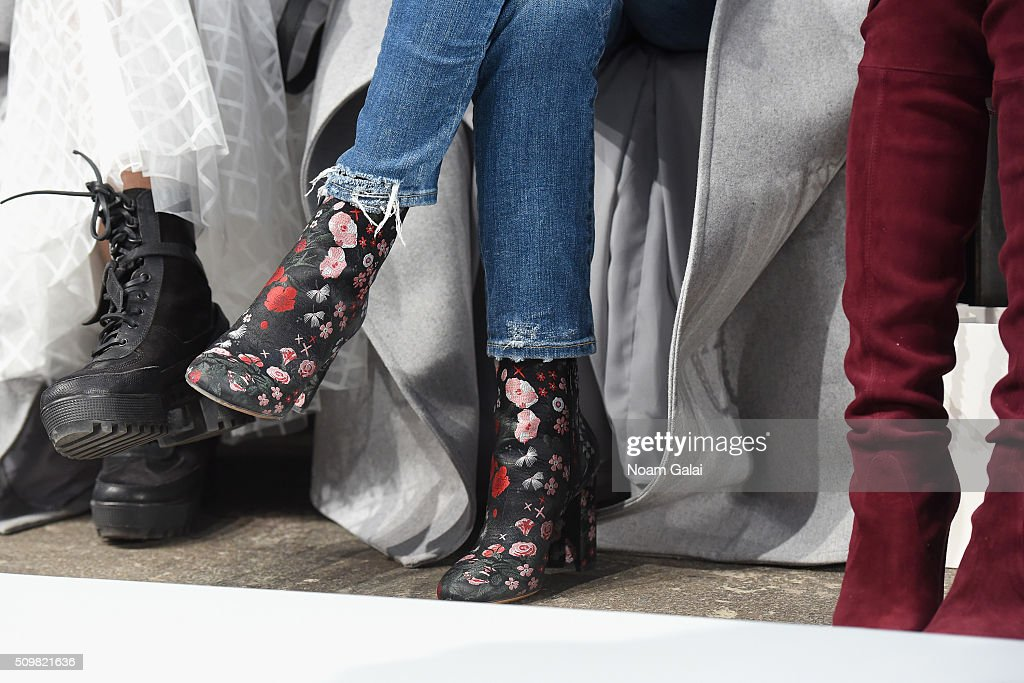 A shoe detail of Aimee Sing at the Zimmermann Fall 2016 Runway Show at Art Beam on February 12, 2016 in New York City.