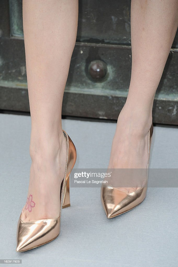 A shoe detail of Angela Wing Yeung is seen as she arrives to attend the Christian Dior Fall/Winter 2013 Ready-to-Wear show as part of Paris Fashion Week on March 1, 2013 in Paris, France.