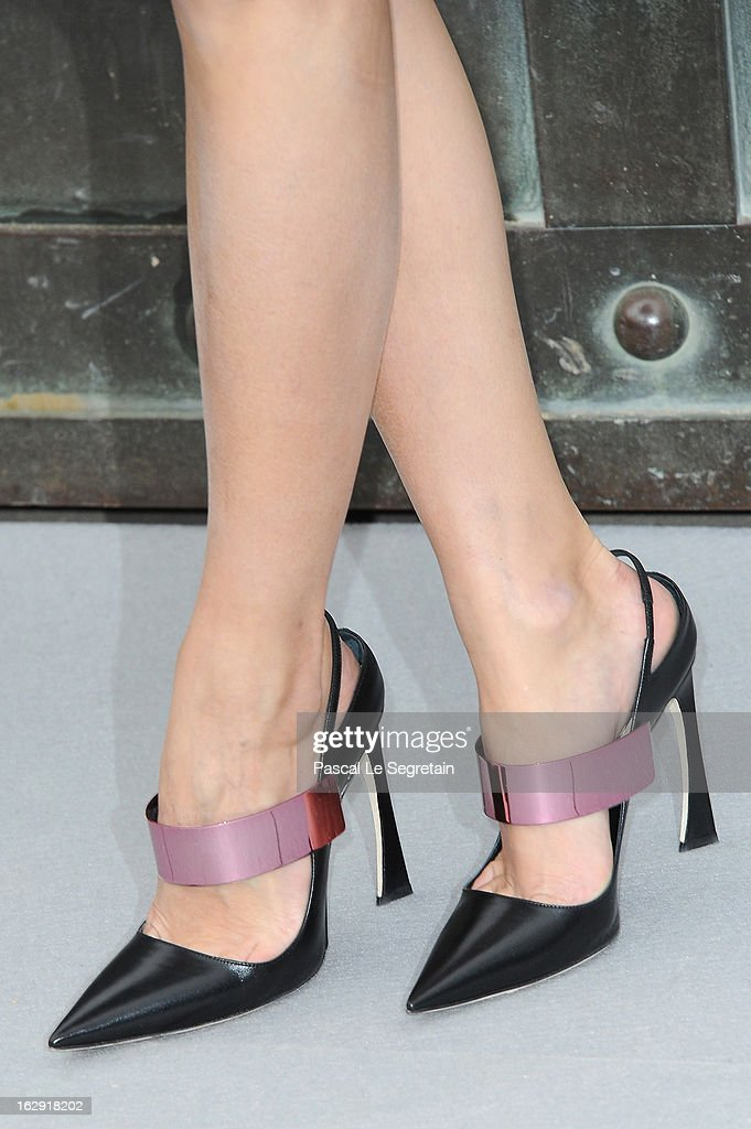 A shoe detail of Olivia Palermo is seen as she arrives to attend the Christian Dior Fall/Winter 2013 Ready-to-Wear show as part of Paris Fashion Week on March 1, 2013 in Paris, France.