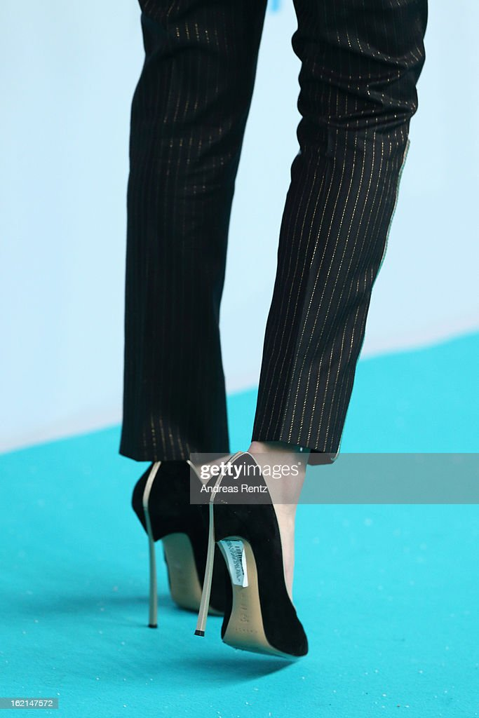 A shoe detail of Selena Gomez is pictured at the 'Spring Breakers' Germany premiere at CineStar on February 19, 2013 in Berlin, Germany.