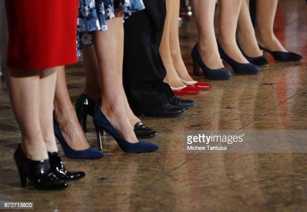Shoe detail of Stephanie Bschorr President of the Association of German Women Entrepreneurs Ivanka Trump daughter of US President Donald Trump Angela...
