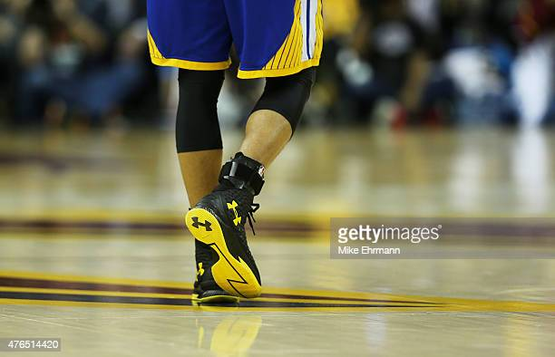 A shoe detail of Stephen Curry of the Golden State Warriors during Game Three of the 2015 NBA Finals against the Cleveland Cavaliers at Quicken Loans...