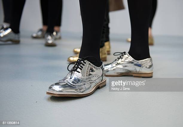 Shoe detail on models seen backstage prior to the Fyodor Golan show on day 1 of London Fashion Week Autumn Winter 2016 at BFC Showspace on February...