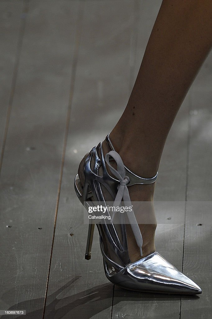 A shoe detail on the runway at the Christian Dior Spring Summer 2014 fashion show during Paris Fashion Week on September 27, 2013 in Paris, France.
