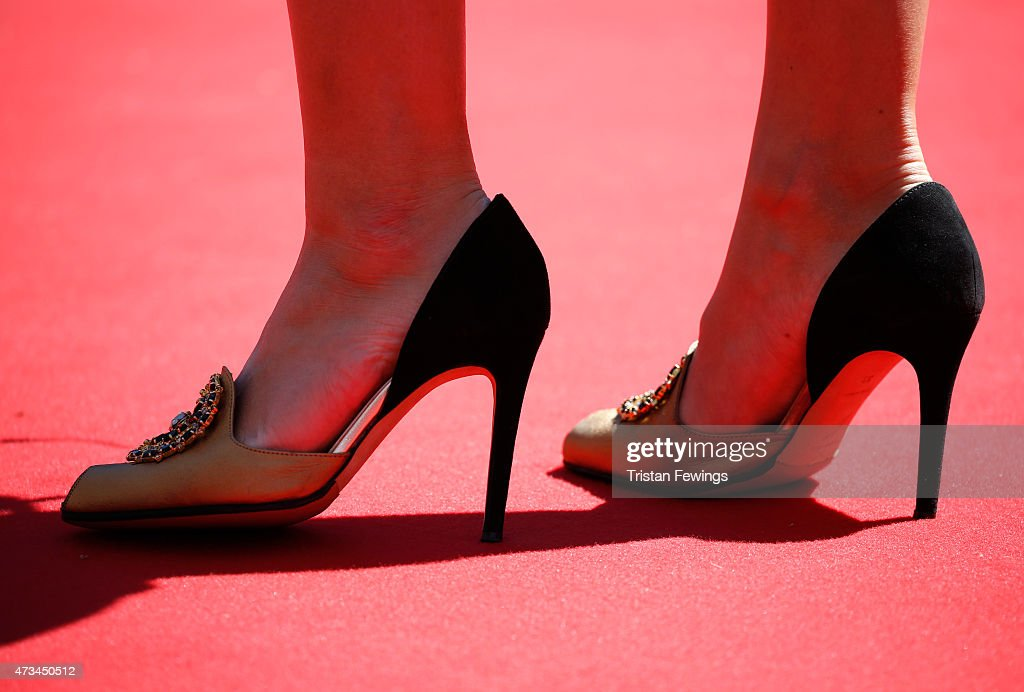 Shoe detail seen at the press conference for 'Saul Fia' during the 68th annual Cannes Film Festival on May 15 2015 in Cannes France