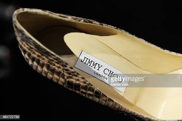 A shoe is seen at Jimmy Choo presentation during the Milan Fashion Week Autumn/Winter 2015 on February 27 2015 in Milan Italy