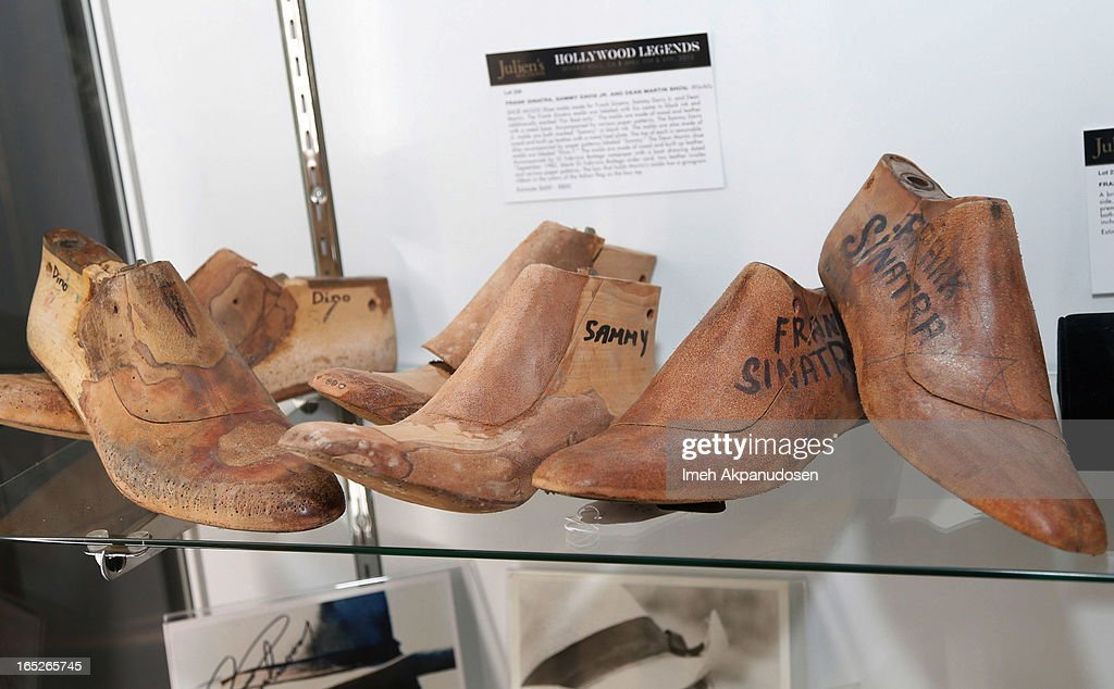 Shoe molds made for Frank Sinatra, Sammy Davis Jr, and Dean Martin on display during the 'Hollywood Legends' auction preview at Julien's Auctions Gallery on April 1, 2013 in Beverly Hills, California.