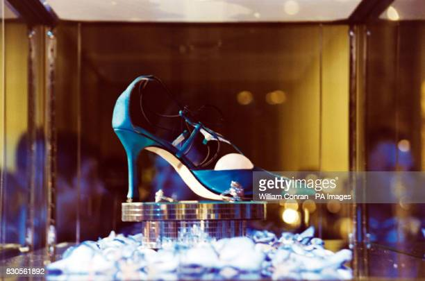 A shoe on display at the Jimmy Choo Couture Gala Evening in aid of Tommy's Campaign at the Victoria and Albert Museum London