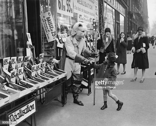 Shoe store in 1927 in Paris France
