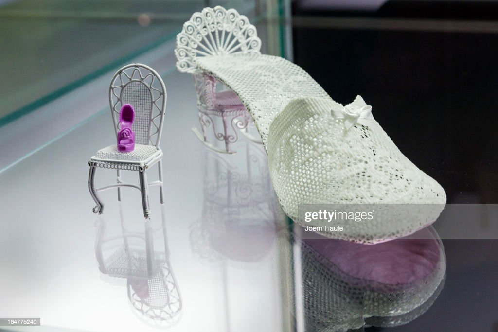A shoe with the name 'Loulou' designed by Pinelopi Loizidou at the exhibition: 'Starker Auftritt: Experimentelles Schuh Design' (the title is a play on words, as it means both 'Strong Appearance' and 'Strong Step', coupled to 'Experimental Show Design') at the Grassi Museum on March 27, 2013 in Leipzig, Germany. The exhibition features over 200 pairs of shoes, many of them designed for celebrities and which challenge traditional notions of shoe design. The exhibition will run until September 28, 2013.