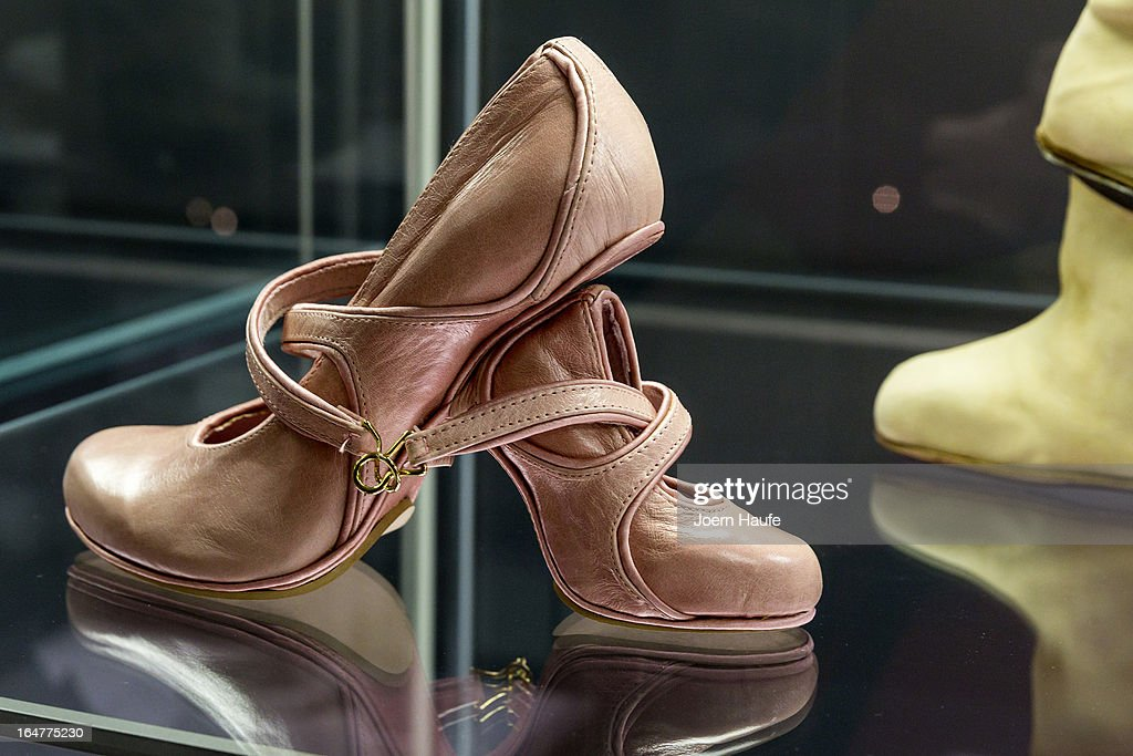 A shoe with the name 'Mother and Daughter' designed by Kobi Levi at the exhibition: 'Starker Auftritt: Experimentelles Schuh Design' (the title is a play on words, as it means both 'Strong Appearance' and 'Strong Step', coupled to 'Experimental Show Design') at the Grassi Museum on March 27, 2013 in Leipzig, Germany. The exhibition features over 200 pairs of shoes, many of them designed for celebrities and which challenge traditional notions of shoe design. The exhibition will run until September 28, 2013.