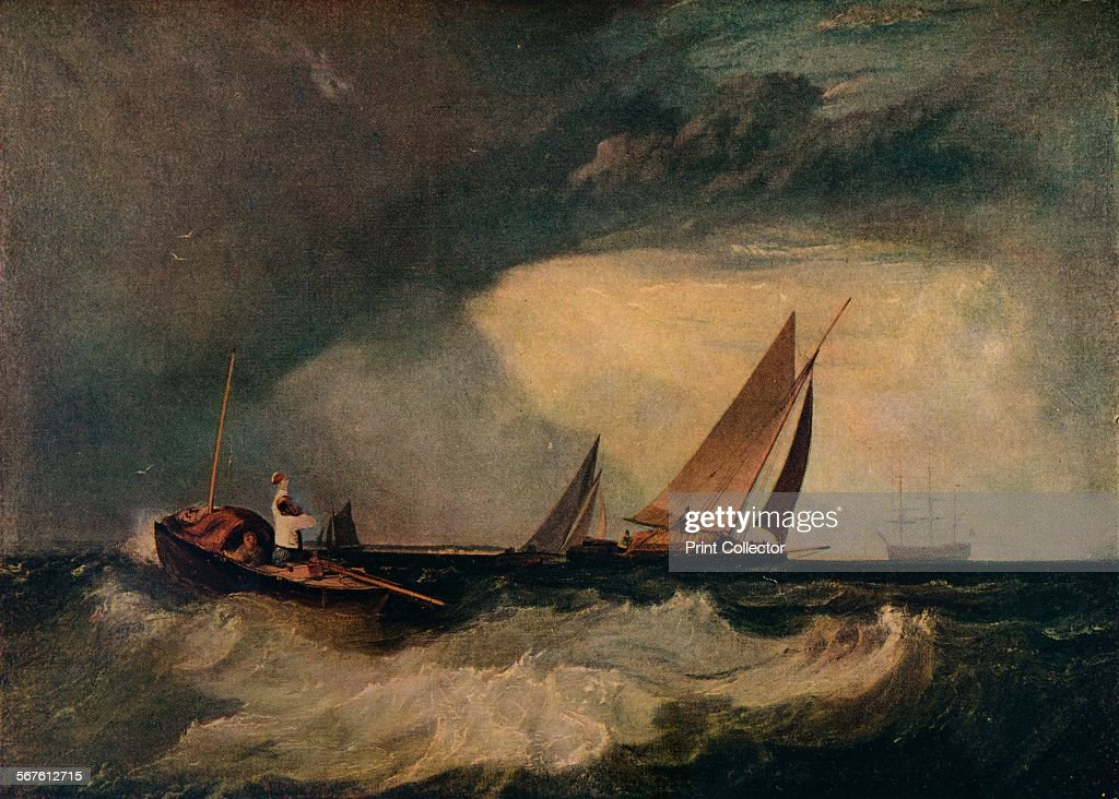 'Shoeburyness Fisherman Hailing a Whitstable Hoy aka The Pilot Boat and The Red Cap' c1809 Painting on display at the National Gallery of Canada...
