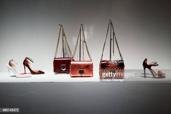 Shoes and Bag are presented at the Jimmy Choo presentation as part of Milan Fashion Week Spring/Summer 2016 on September 26 2015 in Milan Italy