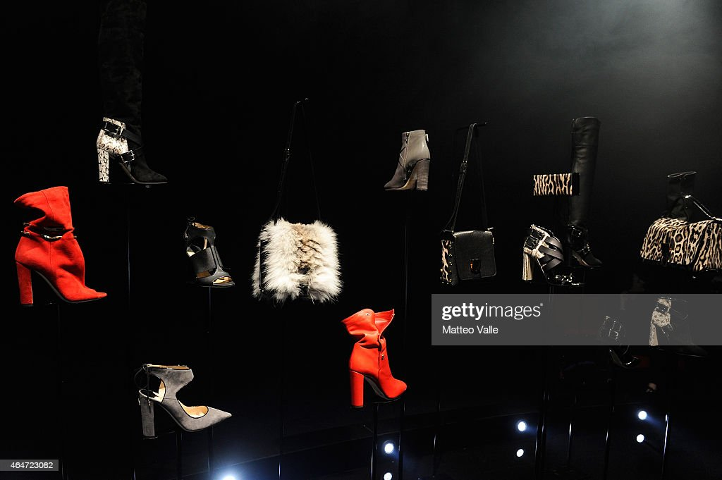 Shoes and bags are seen at Jimmy Choo presentation during the Milan Fashion Week Autumn/Winter 2015 on February 27 2015 in Milan Italy