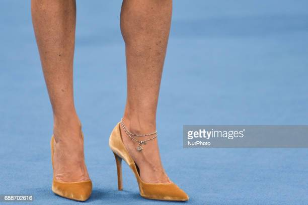 Shoes and legs of Azerbaijan's Vice President and First Lady Mehriban Aliyeva during the Women's Wrestling event medal ceremony at the Baku 2017 4th...