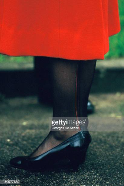 Shoes and seam detail on back of tights worn by Diana Princess of Wales during a visit to The Royal School for the Blind on December 4 1984 in...
