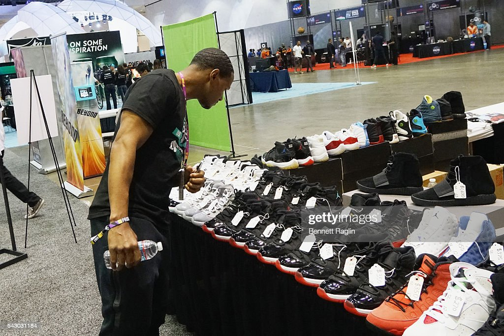 Shoes are displayed at SneakerCon presented by Sprite, Rush Card, & FDA during the 2016 BET Experience at Los Angeles Convention Center on June 25, 2016 in Los Angeles, California.