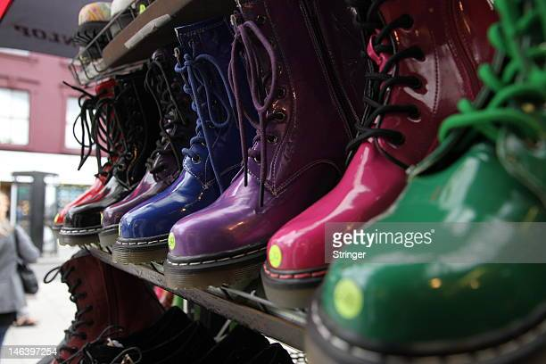 Shoes are displayed on a shop stand in Camden Town an area in North London that attracts visitors all year round and is famed for its market...