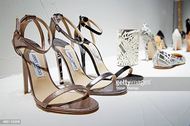 Shoes are presented at the Jimmy Choo presentation as part of Milan Fashion Week Spring/Summer 2016 on September 26 2015 in Milan Italy