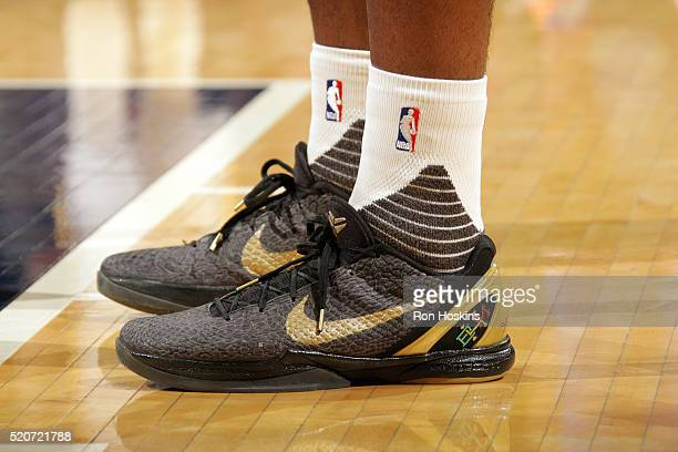 Shoes are property of Solomon Hill of the Indiana Pacers during the game against the New York Knicks on April 12 2016 at Bankers Life Fieldhouse in...