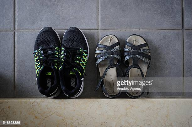 Shoes are seen at the entrance of minimalist Saeko Kubishikis room in Fujisawa Kanagawa Prefecture in the southern of Tokyo Japan on June 29 2016...